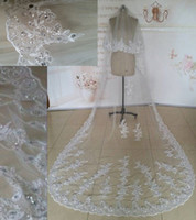 Wholesale Cathedral Veil Without Comb - Best Selling New top Long White Ivory Lace Edge Cathedral Wedding Veils Bridal Veil Sequin Crystal Beaded 1 Layer without comb Can Cove Face