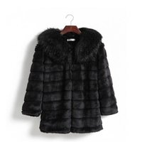 Wholesale New Mink Coats Women - Ldies Clothing Nice Winter New Women Korean Faux Fur Winter Coats Mink Fur Collar and Long Sections with Belt Size S- XXL