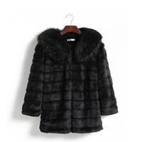 xxl korece giyim toptan satış-Ldies Giyim Güzel Kış Yeni Kadın Kore Faux Kürk Kışlık Mont Vizon Kürk Yaka ve Uzun Boyutları ile Kemer Boyutu S-XXL