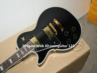 Wholesale Electric Guitar Left Gold - Left Handed Guitars Custom Black Electric Guitar Mahogany Body Gold Hardware OEM Free Shipping