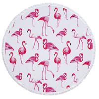 toalla de microfibra estera de yoga al por mayor-LYN01 Nueva Flamingo Microfibra Toalla de Playa Redonda con Borla Bohemio Toallas Grandes Manta de Picnic Estera de Yoga Boho Mantel tapiz 150 * 150 CM