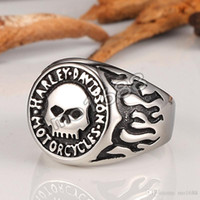 Wholesale Fashion Rings Jewellery - wholesale Stainless steel Skull Europe and the United States fashion men's rings Harley personalized retro Davidson Jewellery