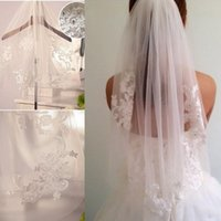 Wholesale White Lace Applique Veil - Hot In Stock White Ivory Bridal Veils for Wedding Dress Appliques With Comb Wedding Veils Head Veils