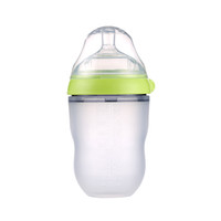 Wholesale Baby Gourd - 150ML and 250ml Silicone baby bottle COMOTOMO bottle FDA approved 100% food grade for New born baby green and pink color