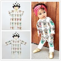 Wholesale Toddler Infant Baby Rompers Ice Cream Bottle Jumpsuit Newborn Boys Girls Bodysuits Outfits One Piece Cartoon Kids Clothes Short Long Sleeve