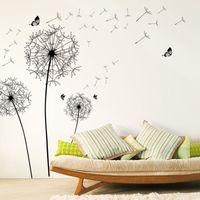 calcomanía de flores de mariposa negro al por mayor-Gran diente de león negro flor pegatinas de pared decoración del hogar sala de estar muebles de dormitorio calcomanías de arte murales de mariposa