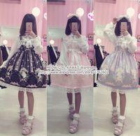 Wholesale Nice Costumes - Wholesale-Super Cute Western Painting Theme Fairytale JSK Lolita Dress Suspender Fancy Dolly Dress Nice Lace Trim 3 Colors