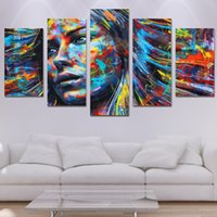 Wholesale Hair Posters - wall art canvas painting 5 piece HD print colorful hair figure woman face posters and prints canvas art home decor ny-6129