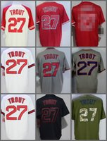 2017 Los Angeles Angels # 27 Mike Trout cool base Home Away Baseball Jersey Bianco Rosso Grigio Crema Beige Cool Maglia cucita base