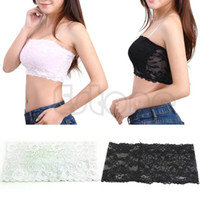 Wholesale newest Sexy Lady Lace Stretch Boob Tube Top Women Girls Soft Strapless Bandeau Bra J117