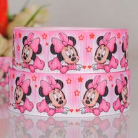 "Wholesale Grosgrain Ribbon Mice - 7 8"" 22mm 50yards lot cartoon minnie mouse printed grosgrain ribbon hairbow"
