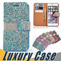 Lujo Crystal Rhinestone Wallet Case Bling Glitter Diamond Flip Cover para iPhone X 8 7 6S 6 Plus SE 5S Sumsung S8 Plus S7 Edge Note 8