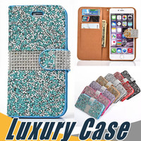 Wholesale Bling Flip Cases - Luxury Crystal Rhinestone Wallet Case Bling Glitter Diamond Flip Cover For iPhone 8 7 6S 6 Plus SE 5S Sumsung S8 Plus S7 Edge J720