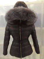 Wholesale Waist Belt Down Jacket Women - M0803 fashion New real Famous Brand 90% Duck Down jackets with belt women's Winter Coats Parka natural big grey fox fur hooded S-XL