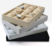Wholesale Chain Velvet Display - Bracelets Bangle Chain Watch Storage Holder Velvet 12 Grids Jewelry Display Tray with Pillows