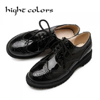 Wholesale Patent Brogue Shoes - Wholesale- British Style Oxford Shoes For Women Patent Leather Round Toe Flat Shoes Woman Carving Vintage Flats Brogues Oxfords Women
