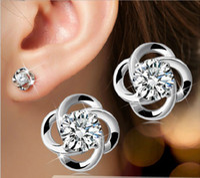 Wholesale Plant Elements - Fashion Women Stud Earrings Swarovski Zirconia Elements Jewelry High Quality Austrian Crystal Stud Earrings Silver Four Clover Leaf Jewelry