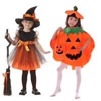 Wholesale dresses children girl plus size - 2017 Girls Halloween Coaplay Dress With Hat Children Girls Cospaly Costume Kids Masquerade Infant Christmas Festival Baby Clothes LX3599