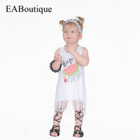 Wholesale Girls Dresses Years Old - New Fresh style fashion cartoon letter watermelon Smooth milk silk Cotton tassels summer dress for baby girls 1-5 years old