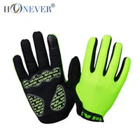 Wholesale Green Screen Wholesale - Wholesale-Green Touch Screen Bike Bicycle Gloves Full Finger Anti-slip Guantes Ciclismo Breathable Shockproof Men Women Cycling Gloves