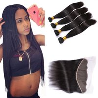 Wholesale Weave Front Closure - Brazilian Lace Front Closure with Straight Virgin Hair Weave Bundles 13x4 Lace Frontal Closure Remy Human Hair Wefts with Closure