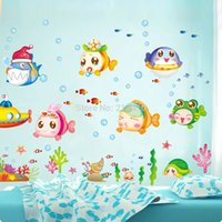 Quarto Criança Decal 50 * 70CM pedido de US $ trac 18no bonito dos desenhos animados da bolha Underwater World Peixe DIY parede Sticke Papel de Parede Stickers Art Decor Mural de Kid