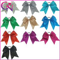 Wholesale Red White Cheerleading - 10 pcs lot 7 inch Wholsale Glitter Cheer Bows 10 Clors Solid Ribbon Baby Girls Cheerleading Bows With Elastic Band