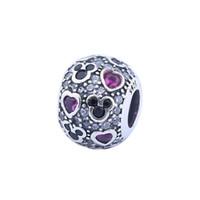 ingrosso crystal heart beads-New Sparkling Mic-key Hearts Charm perline Adatto Pandora Bracciali Autentico 925 Sterling Silver Rosso Nero Pavimenta il Fascino di Cristallo Gioielli FAI DA TE HB266