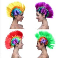 Wholesale Mohawk Wigs - women Men Mohawk Synthetic Hair Fashion Mohican Hairstyle Costume Cosplay Punk Party Wigs for Halloween Christmas cosplay wigs for fun