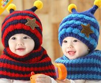 Wholesale Baby Bee Hat - 2016 Autumn Winter New Baby Hats Glitter Star Knitted Cotton Cartoon Bee cap +Neckerchief Two Piece Sets 6M-4T MZ2270