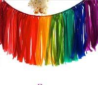 ingrosso ghirlanda arcobaleno-39.3 pollici Matrimonio banner decorazione raso nastro nappa ghirlanda festa di compleanno decor colorato arcobaleno festa di natale Halloween forniture