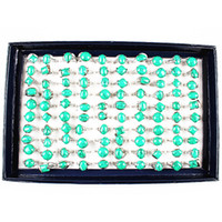 Wholesale lady ring green stone - 100pcs ASSORTED styles beautiful green color women's Ladies Turquoise stone alloy jewelry rings wholesale lots