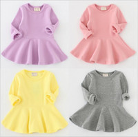 Wholesale Kids Clothes Princess - Girls Baby Dresses Long Sleeve Falbala Dress Princess Fashion Dress Cotton Party Dress Solid Casual Boutique Dresses Baby Kids Clothes B2711
