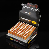 Top Tabac À Cigarettes En Gros Pas Cher-100pcs / Lot Mini Tobacco Pipe 78mm Portable Metal Smoking Pipes Top Marque Hookah Pipes Real Cigarette Shape Gros Aluminum Pipes