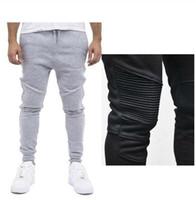 Wholesale Hip Hop Clothing Harem Pants - Fashion Biker Joggers Jogging Slim Fit Skinny Sweatpants Harem Pants Man Hip Hop Swag Clothes Clothing Men Gray Black Kanye West