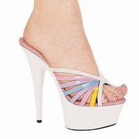 Wholesale Mules Heels Platform - Heidi Shoes 6 Inch Pointed Stiletto Mule High Heels With 2 Inch Platforms Sexy Shoes 15cm Slippers Shoes Plus Size Women's Shoes
