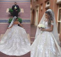 Wholesale Satin Bridal Gowns Corset - Off Shoulders A Line Satin Wedding Dresses 2018 New Arrival Lace Appliques Ruched Corset Back Long Bridal Gowns Said Mhamad Vestido de novia