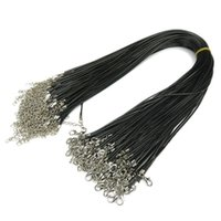 Wholesale Line Leather Cord - Black Wax Leather Snake Necklaces Beading Cord String Rope Wire 45cm Extender Chain with Lobster Clasp Jewelry DIY Line Chains 1.5mm 2mm