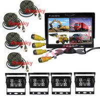 "Wholesale Camera Truck - 4x 4Pin 18 LED Rear View Reversing Camera 12V~24V 7"" LCD Car Parking Monitor With 4CH Quad Split Monitor For Truck Caravan Vans"