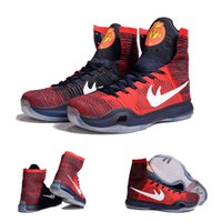 Wholesale Genuine Leather Boots Usa - (With shoes Box) 2016 New Bryant Kobe 10 X KB Elite High USA American University Red Obsidian 718763-614 Men Boots Shoes