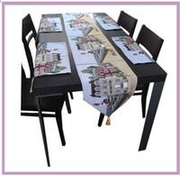 Wholesale Unique Place - Unique Long Table Runners Place-mat set Elegant ancient Castle building Rectangle Table cloth Decorative Bed Runner