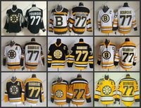хоккей на льду оптовых-Высокое качество мужские Бостон Брюинз трикотажные изделия # 77 Рэй Бурк СКК старинные хоккей Джерси, размер M-XXXL, вышивка логотип можно смешать заказ