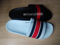 Wholesale Rubber Backs - 2017 hot sale mens fashion flat striped printing leather causal rubber slide sandals flip flops male beach slippers
