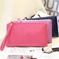 425b94091 Moda bolsa de mão pequena para senhoras Bolsas de embreagem Mulheres Suave  PU Bolsa de couro Satchel carteira longa saco com zíper 504