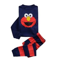 Wholesale Wholesale Long Sleeping Shirts - 2016 Sesame Street Kids Children Tee Shirt Elmo T-shirt Red Cartoon Long Sleeve Sleeping Cotton Autumn Spring Clothing Sweater Pajama 2piece