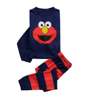 2016 Sesame Street Kids Kinder-T-Shirt Elmo-T-Shirt Red Cartoon Langarm Schlafen Cotton Herbst-Frühlings-Kleidung Pullover Pajama 2piece