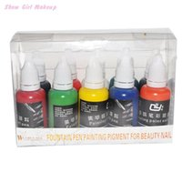 Wholesale Nail Airbrush Paint Ink - Nail Art Airbrush Gun Painting Design Konad Paint Ink Polish Set Diy Design Customized Printings Nailpolish 10pcs lot 160721#