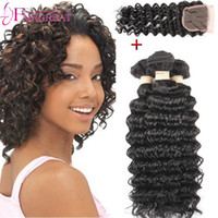 Wholesale Wholesale Deep Wave Wig - Deep Wave Virgin Hair With Closure 3Pieces Brazilian Human Hair Deep Wave With Closure Natural Color Deep Wave Brazilian Hair Extension