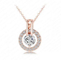 Wholesale Silver Alloy Red Rose Necklace - Pretty 18K Rose Gold Circle Womens Crystal bead Chain Jewelry Necklace Good quality romantic pendant necklace NL0455-A