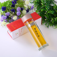 Wholesale Glass Bottle Logo - Double glazing High-grade Thermos glass Water Bottle with Tea Filter Infuser Protective Bag Crystal customization LOGO